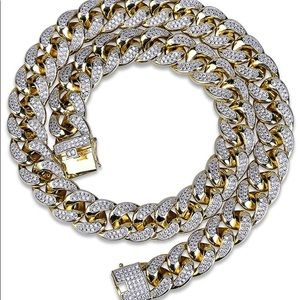 Other - 18mm 14K Gold Plated Full Iced Cuban link chain